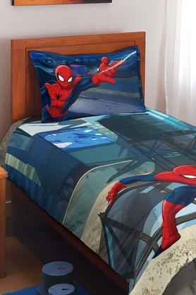 SPACESMarvel Spiderman Blue Cotton Single Bed Sheet With 1 Pillow Cover