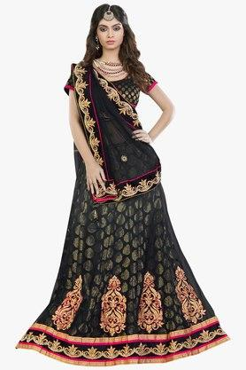 MAHOTSAV Womens Embroidered Semi Stitched Brocade Lehenga Choli Set