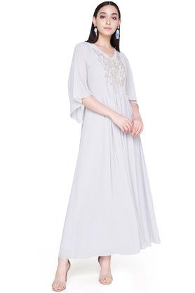 Womens V Neck Embroidered Gown