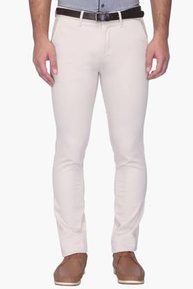Mens Ultra Slim Fit 5 Pocket Solid Chinos
