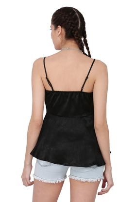 Womens Strappy Neck Solid Tie Up Top