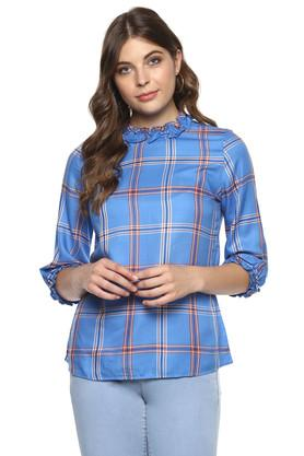 Womens Ruffled Collar Checked Top