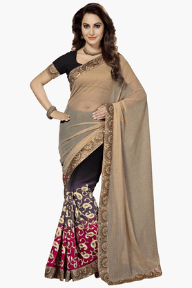 DEMARCAWomens Embroidered Saree (Buy Any Demarca Product & Get A Pair Of Matching Earrings Free) - 201461380_7086