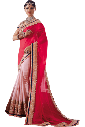 DEMARCA Womens Georgette Saree (Buy Any Demarca Product & Get A Pair Of Matching Earrings Free) - 200947142