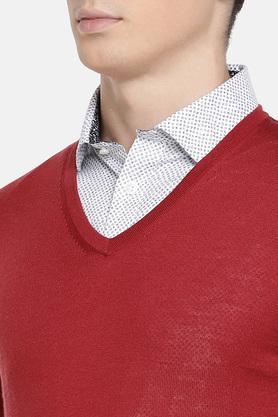 Mens V Neck Slub Knitted Sweater