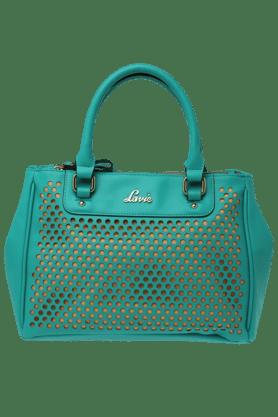 LAVIEWomens Leather Snap Closure 3 Compartment Medium Satchel