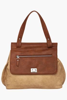 ELLIZA DONATEINWomens Metallic Lock Closure Satchel Handbag