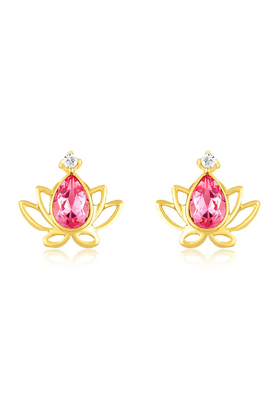 MAHIGold Plated Lotus Earrings With Swarovski Zirconia For Women ER1194134G
