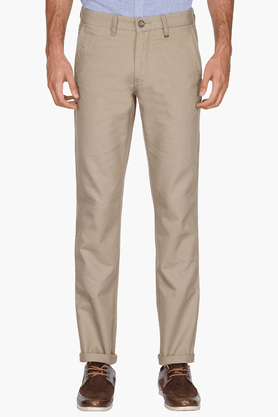 LOUIS PHILIPPE SPORTS Mens Slim Fit Slub Chinos