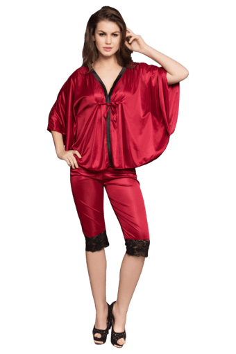 CLOVIA -  MaroonNightwear - Main