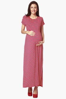 NINE MATERNITYWomens Round Neck Stripe Maxi Dress