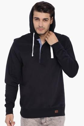 BLUE SAINT Mens Black Hooded Sweatshirt