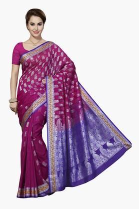 ISHINWomens Cotton Silk Brocade Saree