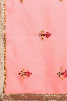 Womens Zari Embroidered Saree with Blouse Piece