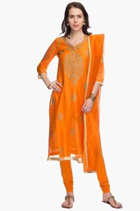 BIBA Womens Embroidered Regular Fit Chudidar Suit (Plus Size)