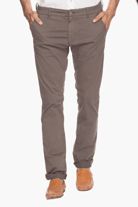 GAS Mens Slim Fit Solid Chinos