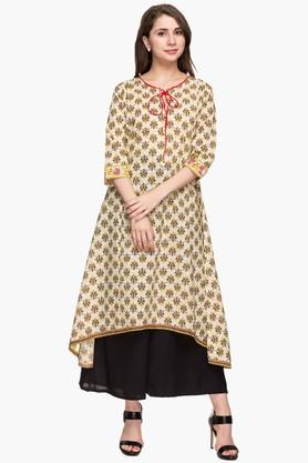 STOP Womens Tie Up Neck Printed High Low Kurta