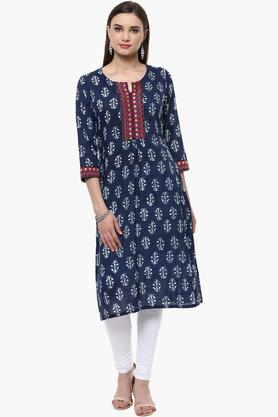 RANGRITI Womens Round Neck Embroidered Printed Kurta