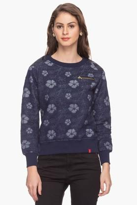 IRIS Womens Embroidered Round Neck Sweatshirt
