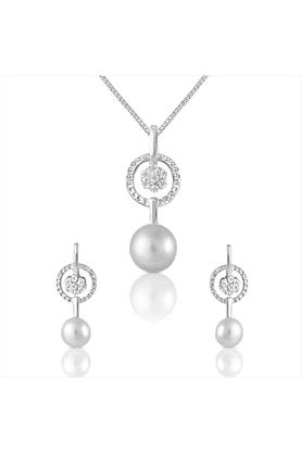 MAHI92.5 Sterling Silver Dahlia Swarovski Zirconia Pendant Set From Elysia Collection By Mahi NL3101017S