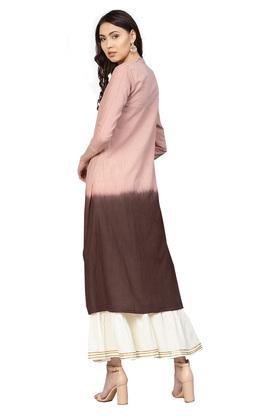Womens A-Line Fit Mandarin Collar Slub Applique Kurta and Sharara Set