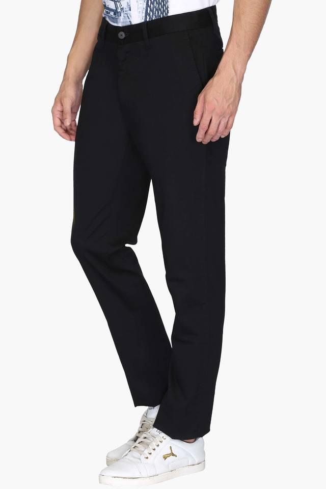 Mens 4 Pocket Slim Fit Solid Trousers