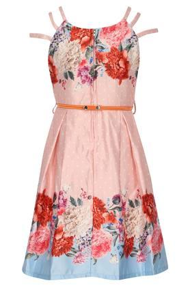 Girls Strappy Neck Floral Printed Pleated Dress