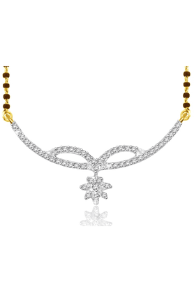 SPARKLES 18Kt Gold Mangalsutra With Diamond Pendant Along With Gold Plated Silver Chain And Black - 7501188_9999