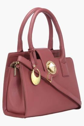 Womens Leather Metallic Lock Closure Tote Handbag
