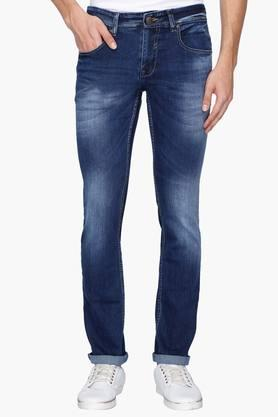 Mens 5 Pocket Heavy Wash Whiskered Jeans