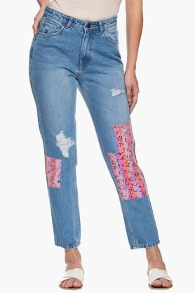 Womens 5 Pocket Distressed Patch Work Jeans