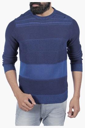 WRANGLERMens Full Sleeves Round Neck Stripe Sweater