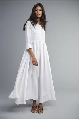 Womens Falling Mogra Half Shirt Dress