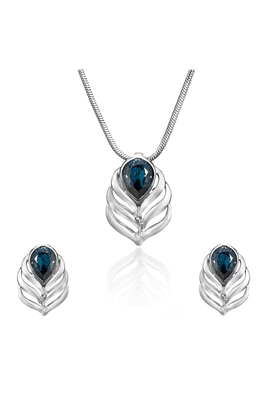 MAHI Mahi Rhodium Plated Blue Drop Peacock Feather Pendant Set Made With Swarovski Elements For Women NL1104108RBlu