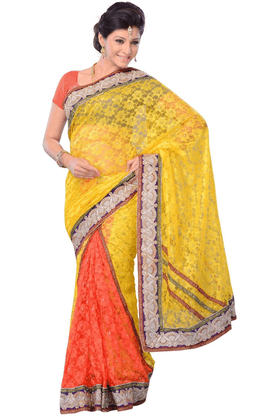 DEMARCA De Marca Green::Yellow Net::Brasso Designer DF-284C Saree