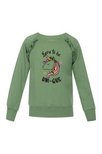 Girls Round Neck Printed Sweater