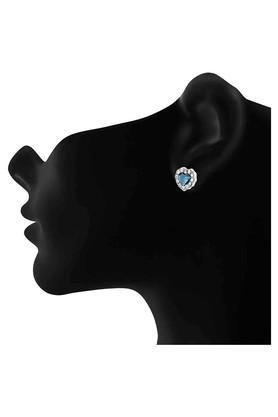 MAHI Rhodium Plated Montana Blue Titanic Heart Earrings Made With Swarovski Elements For Women ER1194119RBlu  ...