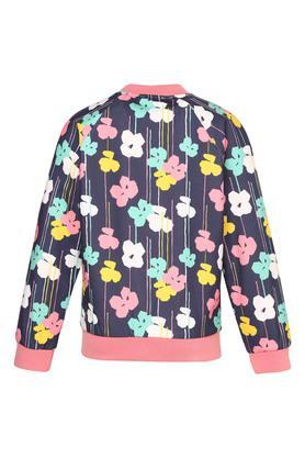 Girls Zip Through Neck Printed Jacket