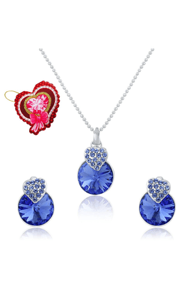 MAHI Mahi Valentine GiftLiana Collection Blue Swarovski Elements With Heart Shaped Card Pendant Set For Women NL5104089RBluCd
