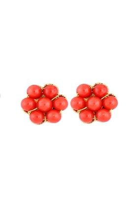 Womens Yellow Gold With Coral Stud Earrings GERD12022188