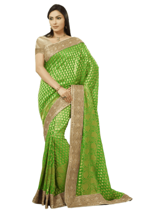 DEMARCA Womens Embroidered Banarasi Upada Saree