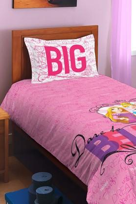 SPACES Disney Princess Pink Cotton Single Bed Sheet With 1 Pillow Cover