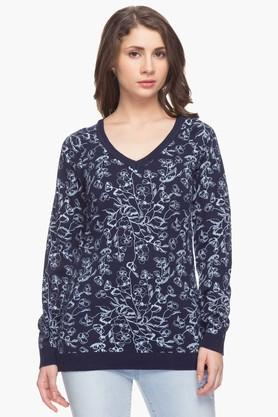 ALLEN SOLLY Womens V Neck Printed Sweater