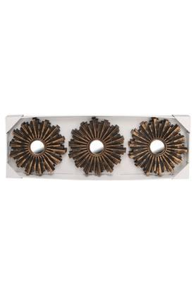 Round Sunflower Motif Decorative Mirror Set of 3