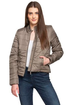 Womens Zip Through Solid Quilted Jacket