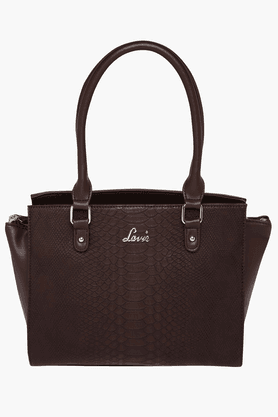 LAVIE Womens Leather Zipper Closure Tote Handbag