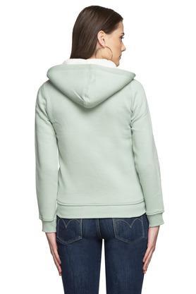 Womens Hooded Neck Solid Sweatshirt