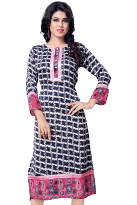 DEMARCA Womens Printed Kurta (Buy Any Demarca Product & Get A Pair Of Matching Earrings Free) - 200936903