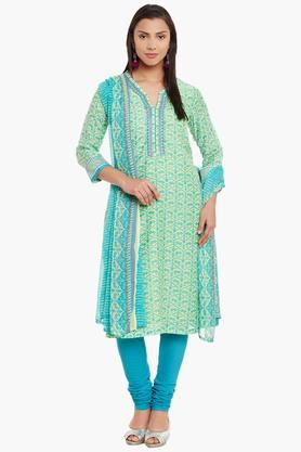 BIBA Womens Poly Cotton Straight Suit Set - 202179833