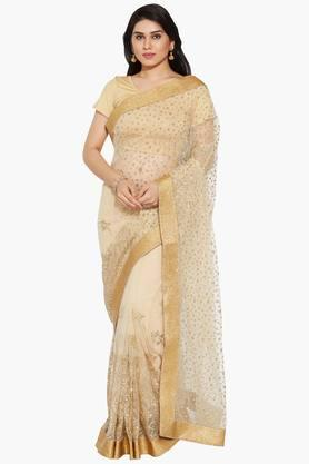 Women Glitter Net Saree With Floral Polka Dotted Pattern
